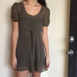 urban outfitters Chiffon Tie Floral Mini Dress